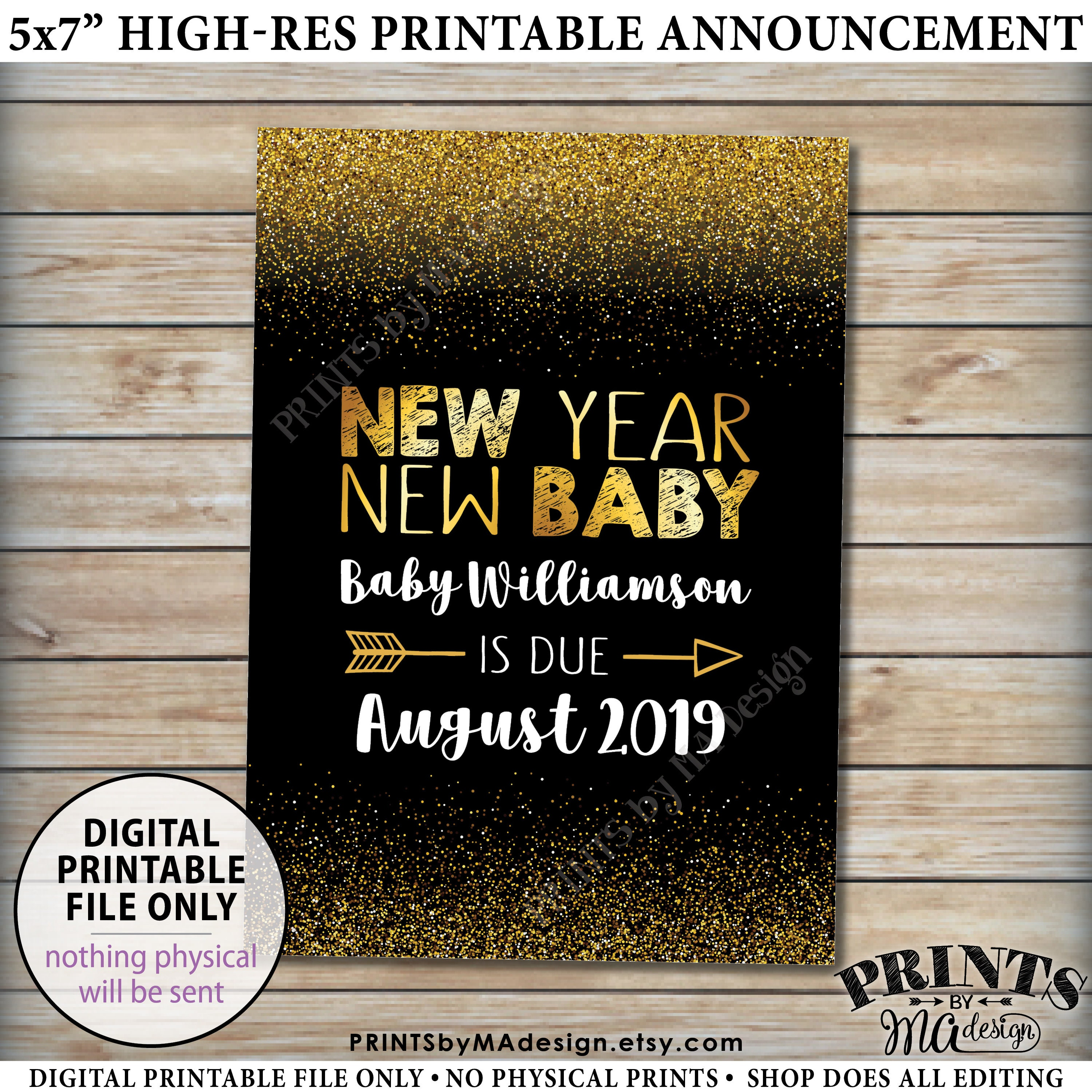 new years pregnancy announcement card new year new baby expecting in 2019 black gold glitter custom printable 5x7 pregnancy reveal card