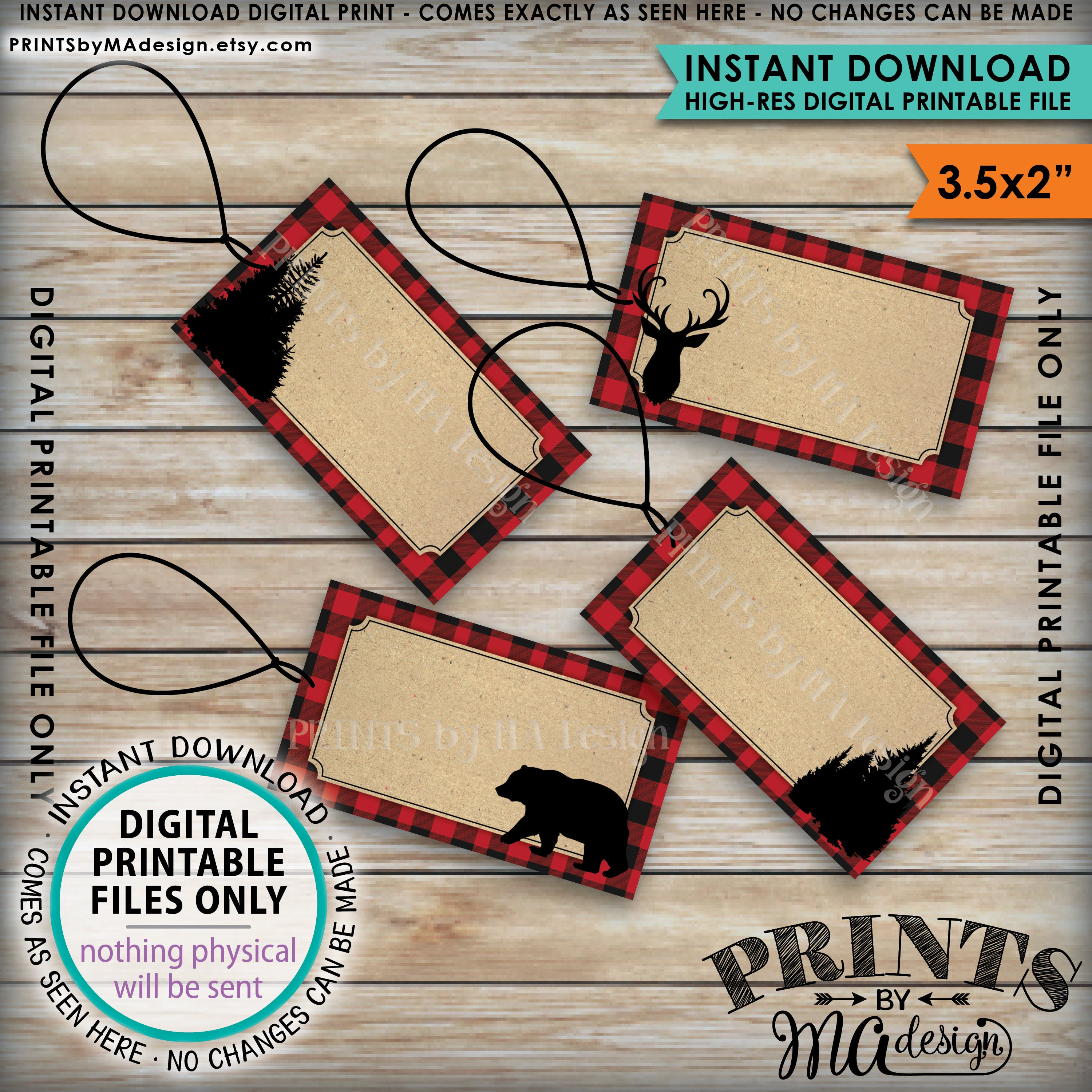 Lumberjack Labels, Red Checker Buffalo Plaid Food Labels ...