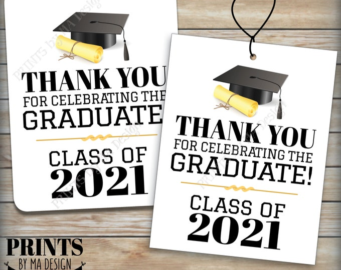"""Graduation Tags, Class of 2021 Graduation Party Thank You Favors, Thank Guests, Thanks from the Grad Cards, PRINTABLE 8.5x11"""" Sheet <ID>"""