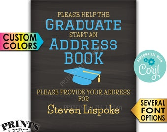 """Graduation Address Book Sign, Graduation Party, PRINTABLE 8x10/16x20"""" Chalkboard Style Sign <Edit Yourself with Corjl>"""