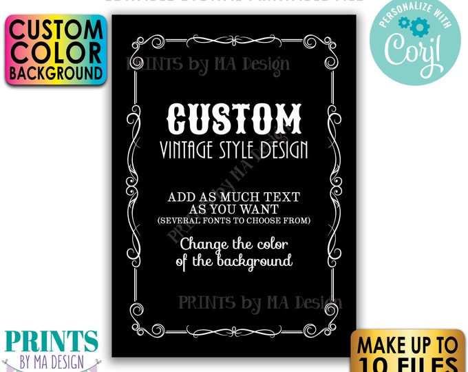 """Custom Vintage Style Sign, Better with Age Liquor Themed Party, Color Background, Up to 10 PRINTABLE 5x7"""" Signs <Edit Yourself with Corjl>"""