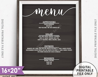 "Wedding Menu Sign, Dinner Menu Board, Rehearsal Dinner Menu, Graduation Party, Birthday Menu, Chalkboard Style PRINTABLE 8x10/16x20"" Sign"