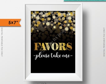 "Favors Sign, Please Take Favor Take One, Birthday, Anniversary, Retirement, Graduation, Black & Gold Glitter Instant Download 5x7"" Printable"