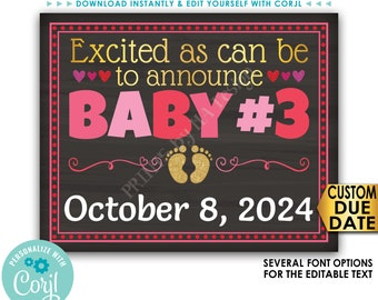 """Valentine's Day Baby Number 3 Pregnancy Announcement, Excited as Can Be for Baby #3, PRINTABLE 16x20"""" Reveal Sign <Edit Yourself with Corjl>"""