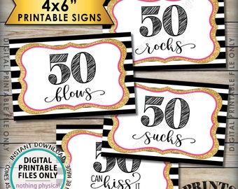 """50th Birthday Candy Signs, 50 Sucks 50 Rocks 50 Blows 50 Can Kiss It Fiftieth Candy Bar, 4 PRINTABLE Black/Pink/Gold Glitter 4x6"""" Signs <ID>"""
