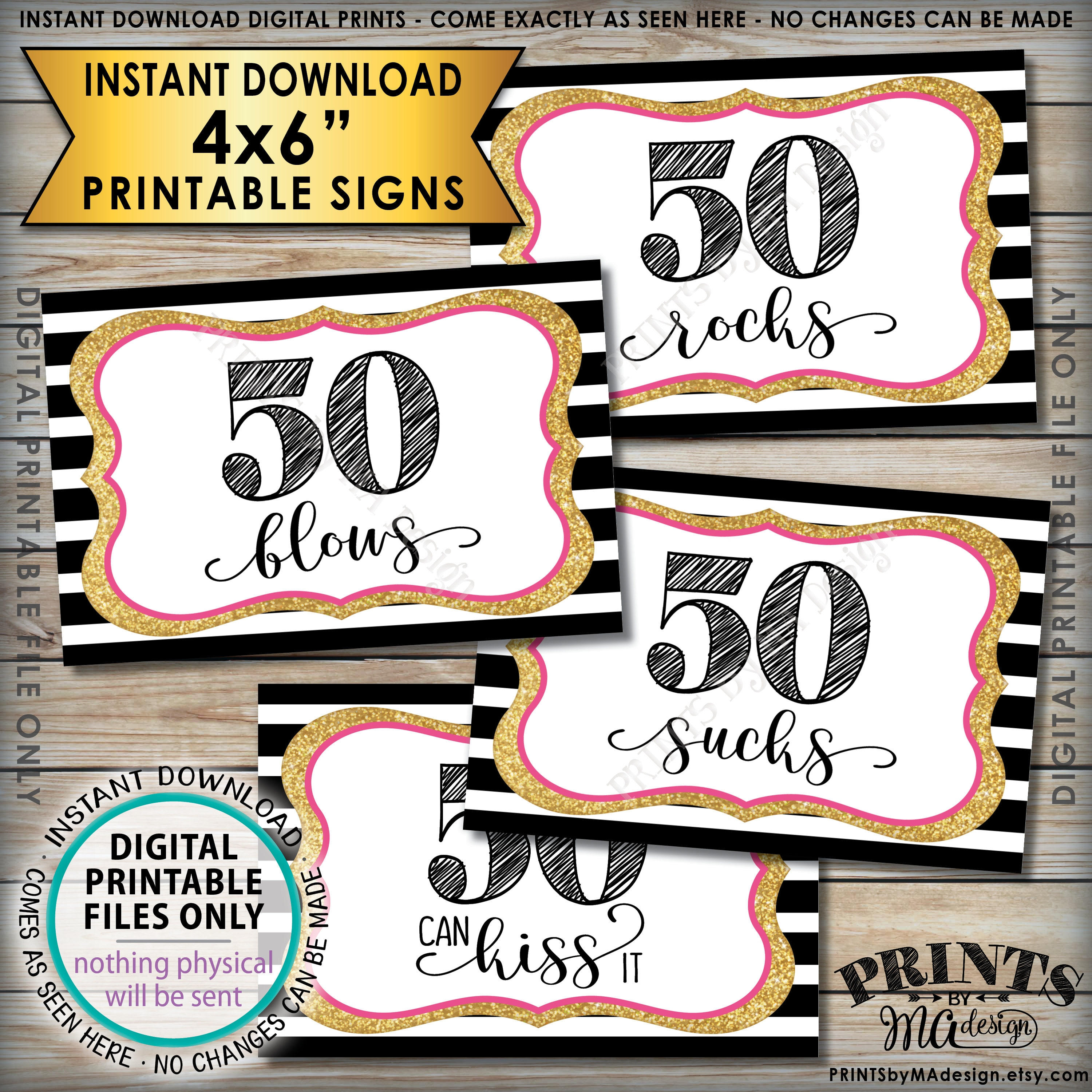 photograph relating to Free Printable 50th Birthday Signs identify 50th Birthday Sweet Symptoms, 50 Sucks 50 Rocks 50 Blows 50