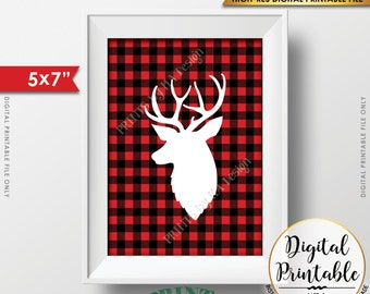 "Reindeer Lumberjack Plaid Christmas Decor, Red Checker Reindeer Lumberjack Deer Sign, Buffalo Plaid, Woodsy, PRINTABLE 5x7"" Instant Download"