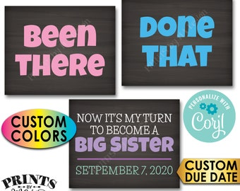 Pregnancy Announcement, Been There, Done That, My Turn to Become a Big Sister, 3 PRINTABLE Baby #4 Reveal Signs <Edit Yourself with Corjl>