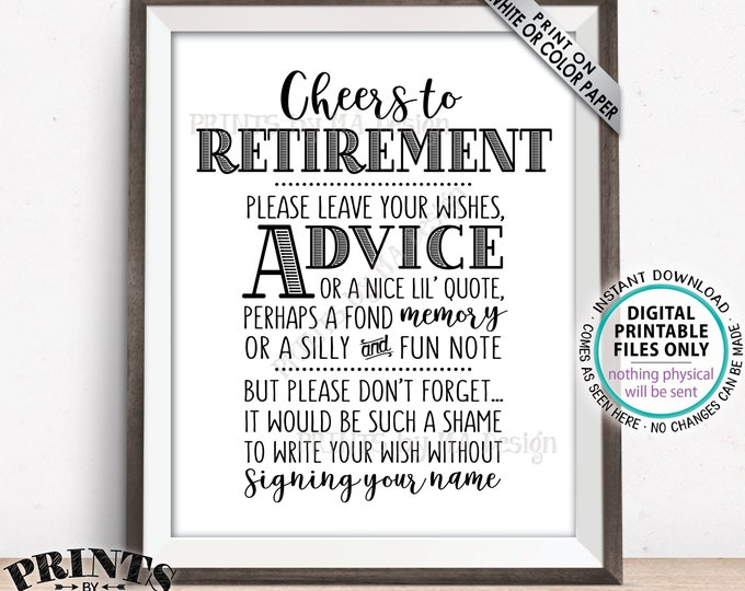 """Cheers to Retirement Party Sign, Leave Your Wishes, Advice, Memory, etc for the Retiree Celebration, Black Text, PRINTABLE 8x10"""" Sign <ID>"""