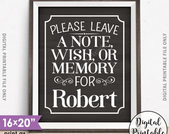 Please Leave a Message Sign, Leave a Note Wish Memory, Birthday Party, Retirement, Graduation Party, PRINTABLE Chalkboard Style 8x10/16x20""