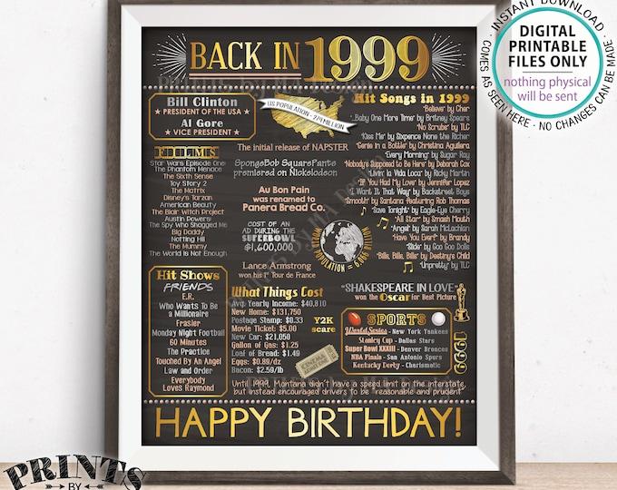 "19th Birthday Flashback to 1999 Poster, Back in 1999 Birthday Party 1999 Custom Chalkboard Style PRINTABLE 8x10/16x20"" 1999 Flashback Sign"