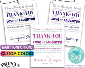 """Wedding Thank You Tags, Goodie Bags for Out of Town Guests, Destination, PRINTABLE 8.5x11"""" Sheet of 4x5"""" Tags <Edit Yourself with Corjl>"""