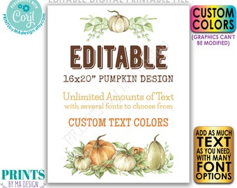 """Editable Pumpkin Sign, Choose Your Text, Create One Custom Fall Watercolor Style PRINTABLE 8x10/16x20"""" Portrait Sign <Edit Yourself w/Corjl>"""