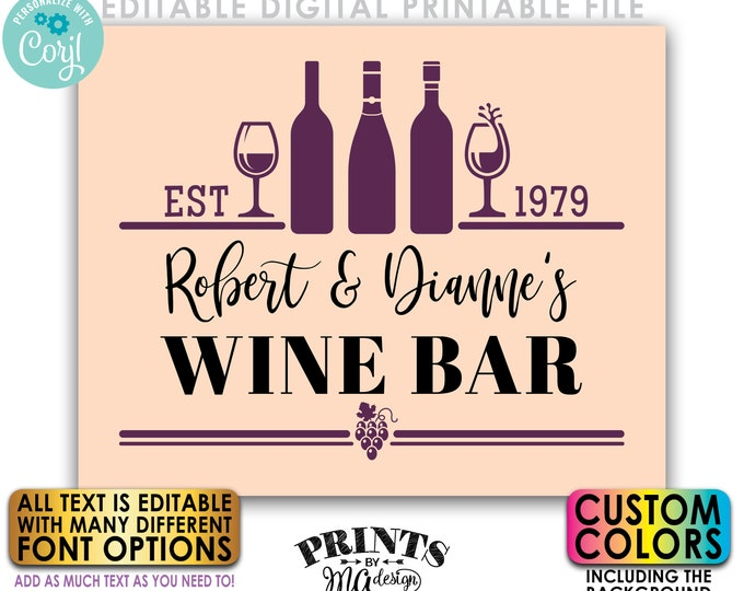 """Editable Wine Bar Sign, Wine Collection, Wino Housewarming Gift, Custom Colors PRINTABLE 8x10/16x20"""" Wine Sign <Edit Yourself with Corjl>"""