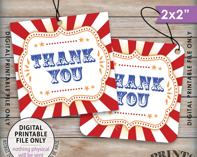 """Thank You Tags, Carnival Themed Party, Circus Themed, Carnival Birthday, Circus Birthday, 2x2"""" tags on 8.5x11"""" Printable Instant Download"""