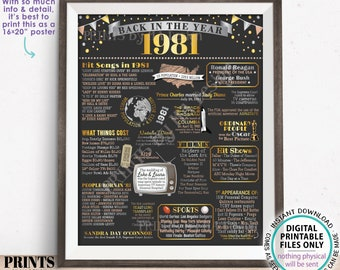 """Back in the Year 1981 Poster Board, Remember 1981 Sign, Flashback to 1981 USA History from 1981, PRINTABLE 16x20"""" Sign <ID>"""
