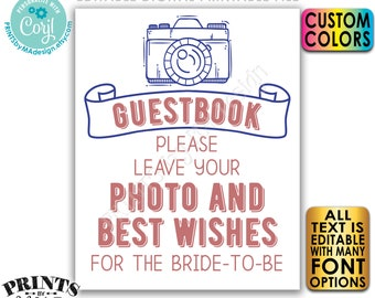 """Editable Photo Sign, Leave Your Photo & Best Wishes, Custom Text and Colors, Digital PRINTABLE 8x10/16x20"""" File <Edit Yourself w/Corjl>"""