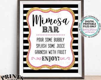 """Mimosa Bar Sign, Make your own Mimosa, Wedding Shower, Bridal Brunch, Birthday Bubbly, Black Pink & Gold PRINTABLE 8x10"""" Mimosa Sign <ID>"""