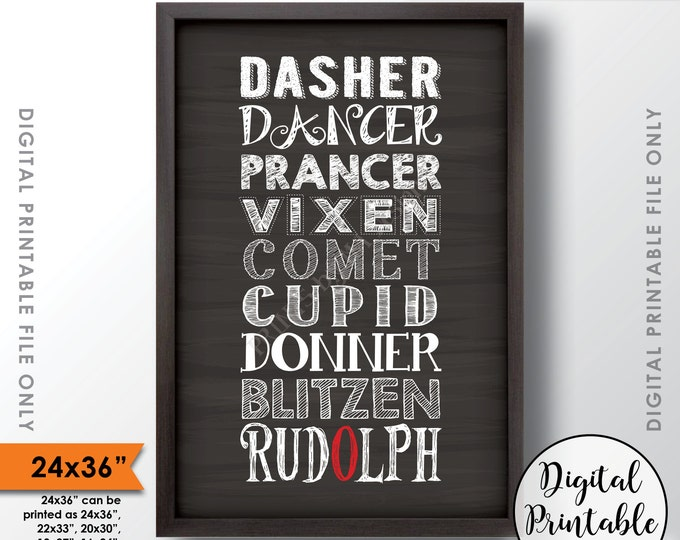 """Santa's Reindeer Christmas Decor, Rudolph the Red Nose Sign, Winter Art, 24x36"""" Chalkboard Style Instant Download Digital Printable"""