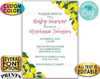"Lemon Baby Shower Invitation, Tuscan Garden Party, Summer Lemonade, Custom 5x7"" Digital Printable File <Edit Yourself with Corjl>"