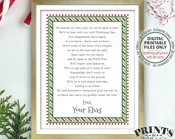 """Welcome Back Letter to Kids from their Christmas Elves, The Elves have Returned, Elf Hello Letter, PRINTABLE 8.5x11"""" Sign <Instant Download>"""