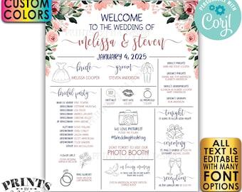 "Infographic Wedding Program, Fun Editable Program, Customizable, Blush Flowers, Floral PRINTABLE 16x20"" Sign <Edit Yourself with Corjl>"