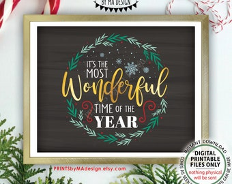 """It's the Most Wonderful Time of the Year Wall Art, Christmas Decoration, Xmas Decor, PRINTABLE 8x10/16x20"""" Chalkboard Style Sign <ID>"""