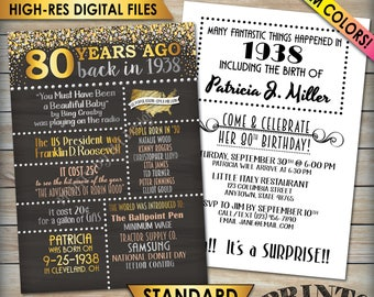 "80th Birthday Invitation, 1938 Invite, Born in 1938 Flashback 80 Years Ago, 80th Invite, 80th Bday 5x7"" Chalkboard Style Digital Printables"