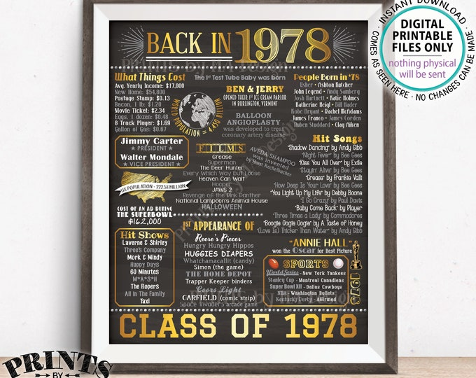 """Class of 1978 Reunion Flashback Poster, 40 Years Ago Back in 1978 Flashback to 1978, Gold, PRINTABLE 8x10/16x20"""" Chalkboard Style Sign <ID>"""