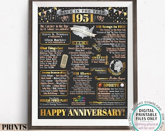 """Back in the Year 1951 Anniversary Sign, Flashback to 1951 Anniversary Decor, Anniversary Gift, PRINTABLE 16x20"""" Poster Board <ID>"""