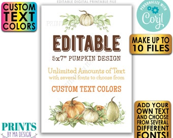 """Editable Pumpkin Signs/Cards, Choose Your Text, Create 10 Custom Fall Watercolor Style PRINTABLE 5x7"""" Portrait Signs <Edit Yourself w/Corjl>"""