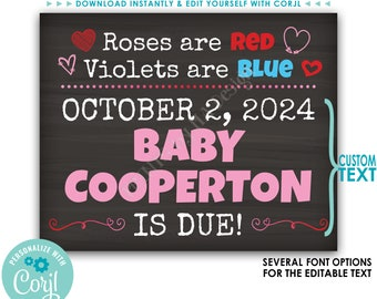 """Valentine's Day Pregnancy Announcement, Roses are Red Violets are Blue, Baby Due, Custom PRINTABLE 8x10/16x20"""" Sign <Edit Yourself w/Corjl>"""