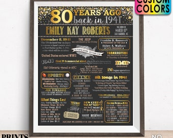 """80th Birthday Poster Board, Back in 1941 Flashback 80 Years Ago B-day Gift, Custom PRINTABLE 16x20"""" Born in 1941 Sign"""