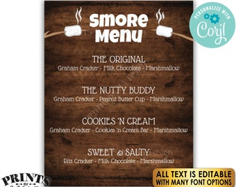 """Custom S'more Sign, Smore Station, All Text is Editable, PRINTABLE 8x10/16x20"""" Rustic Wood Style Smores Menu Sign <Edit Yourself with Corjl>"""