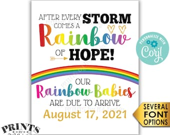 """Twins Pregnancy Announcement, Rainbow Babies, Reveal After Loss, PRINTABLE 8x10/16x20"""" Sign <Edit Yourself with Corjl>"""