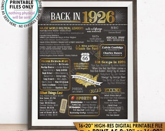 """1926 Flashback Poster, Flashback to 1926 USA History Back in 1926 Birthday Party, Born in 1926, Chalkboard Style PRINTABLE 16x20"""" Sign <ID>"""