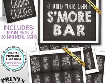 S'more Bar Sign and Labels, Build Your Own S'mores, Smore Station Signs, Party S'more, PRINTABLE Chalkboard Style Sign & Labels <ID>