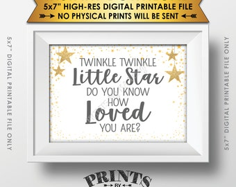 """Twinkle Twinkle Little Star Baby Shower Decor Gray & Gold Glitter, Do You Know How Loved You Are Baby Stars, Instant Download PRINTABLE 5x7"""""""