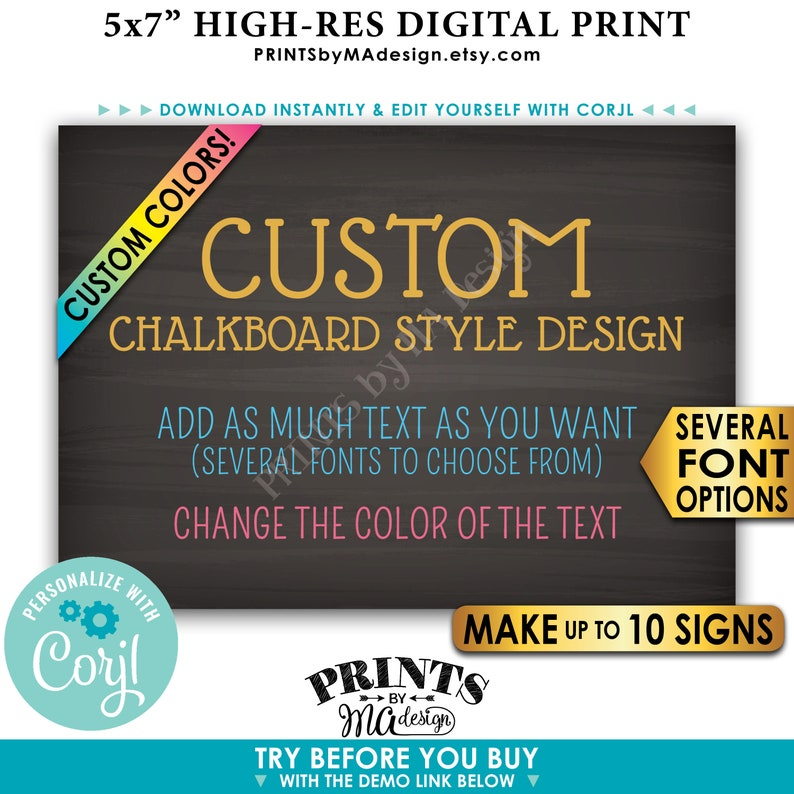 """Custom 5x7 Landscape Sign, Choose Your Text, Change Colors, Up to 10  PRINTABLE 5x7"""" Chalkboard Style Signs"""