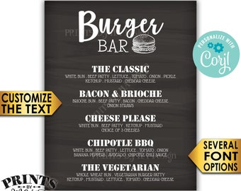 "Burger Bar Sign, Custom Burger Menu, Build Yourself a Burger, PRINTABLE 8x10/16x20"" Chalkboard Style Sign <Edit Yourself with Corjl>"