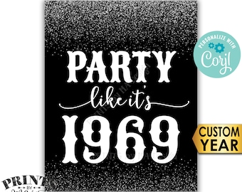"""Party Like It's Birthday Party Sign, ANY Year, Reunion Decoration, PRINTABLE 8x10/16x20"""" Silver Glitter Sign <Edit Yourself with Corjl>"""