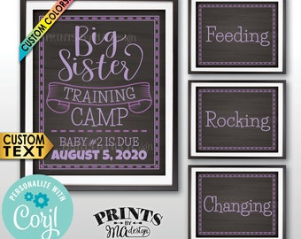 """Big Sister Training Camp Pregnancy Announcement, Editable PRINTABLE 8x10/16x20"""" Chalkboard Style Signs <Edit Yourself with Corjl>"""