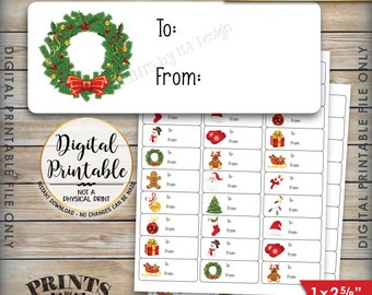 "Christmas Labels, Christmas Gift Labels, Christmas Present Labels, Xmas Tags Xmas Package Labels, Instant Download Printable 1x2-5/8"" Labels"