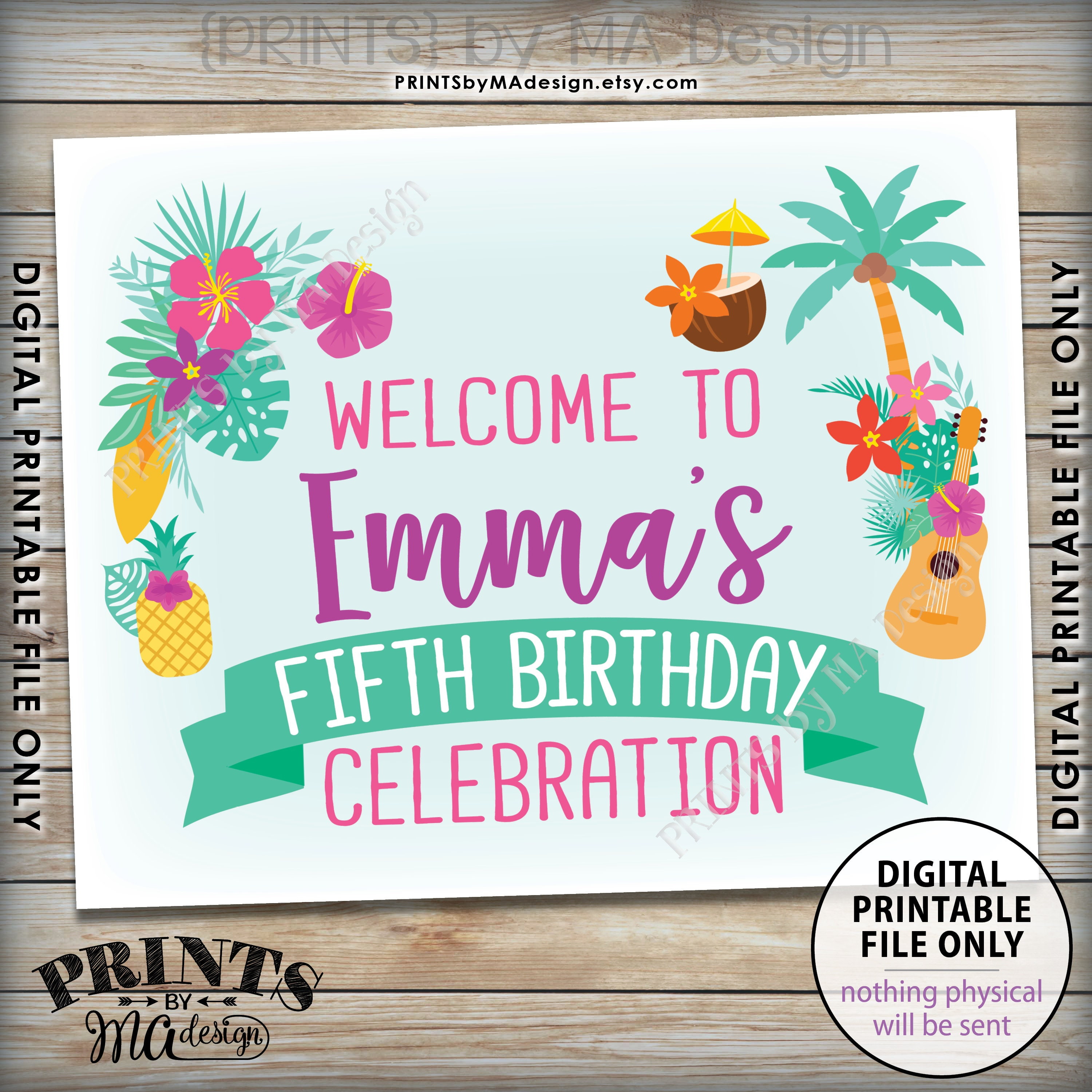Tropical Birthday Party Welcome Sign Hawaiian Party Decorations