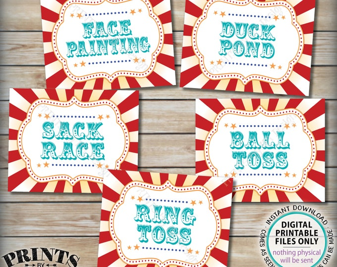 """Carnival Games Signs, Circus Activities, Ball & Ring Toss, Sack Race, Duck Pond, Face Painting, Teal PRINTABLE 8x10/16x20"""" Party Signs <ID>"""
