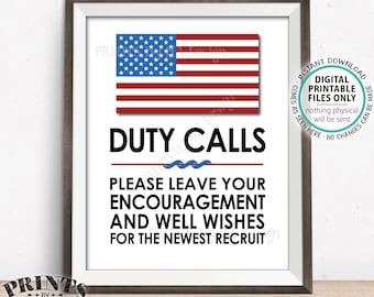 """Military Party Decor, Leave your Encouragement and Well Wishes, US Military Boot Camp, Patriotic, PRINTABLE 8x10/16x20"""" Military Sign <ID>"""