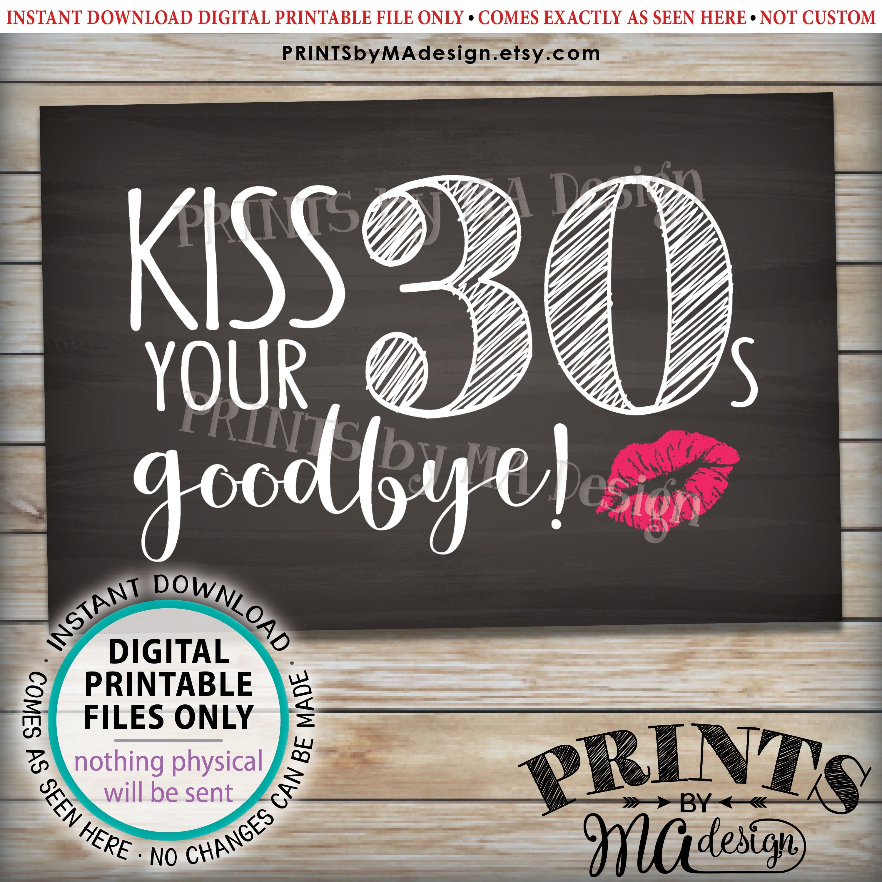 40th Birthday Sign Kiss Your 30s Goodbye Funny 40th Candy Bar Sign Fortieth Bday Party Decor Printable 4x6 Chalkboard Style Sign