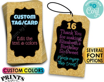 """Gold Glitter Tags/Cards, Create Your Own Party Favor Labels, Custom PRINTABLE 8.5x11"""" Digital File <Edit Yourself with Corjl>"""