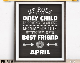 Baby Number 2 Pregnancy Announcement, My Role as an Only Child is Coming to an End in APRIL Dated Chalkboard Style PRINTABLE Sign <ID>