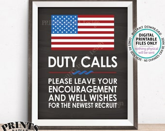 """Military Party Sign, Leave your Encouragement & Well Wishes, US Military Boot Camp Party, PRINTABLE 8x10/16x20"""" Chalkboard Style Sign <ID>"""